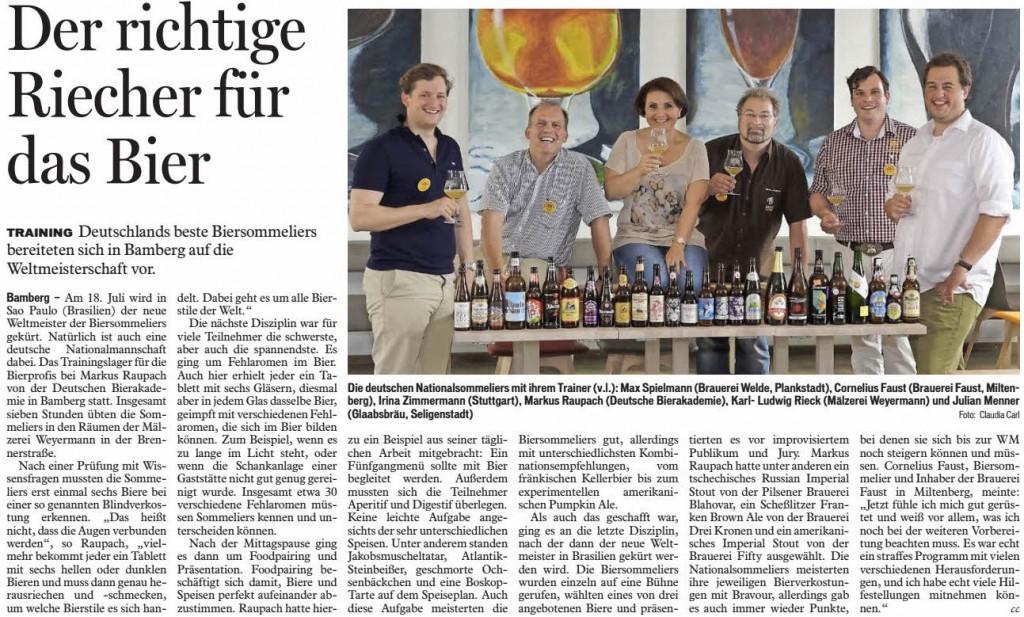 Artikel im Fränkischen Tag Bamberg vom 16.06.2015: Markus Raupach ist der Trainer der deutschen Biersommelier-Nationalmannschaft.