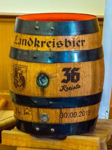"""Das Landkreisbier """"36 Kreisla"""" im Fass."""