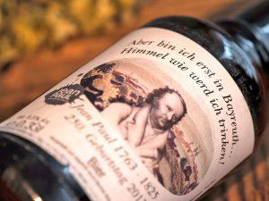Sonder-Bierflaschenetikett zum 250. Geburtstag von Jean Paul.